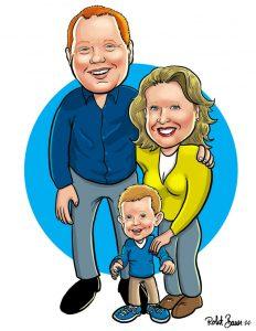 eSketch, digital caricature of Family of three