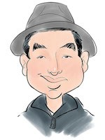 Digital caricature man with hat