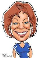 Digital caricature woman red hair