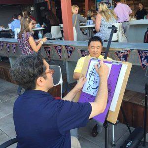 caricaturist creating a caricature