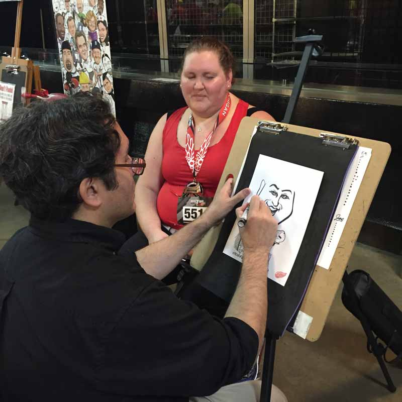 caricature artist at work