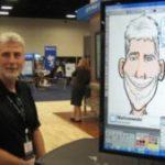 Caricature artist making digital drawings with eSketches