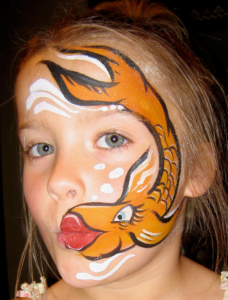 Fun Kissing Fish face painting by Goofy Faces.