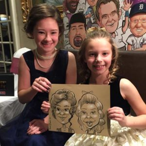Young girls at first communion party celebrating with traditional caricatures on sepia paper.