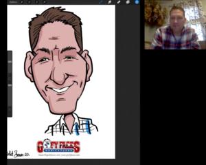 live digital caricatures via Zoom