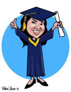 Digital caricature eSketch of a graduate in cap and gown.