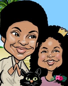 digital caricature, or eSketch of mom and daughter in a tropical setting