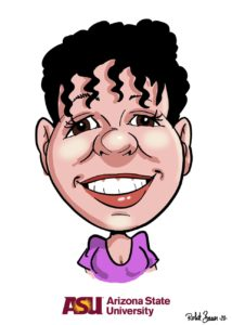 Digital caricature of college student done over zoom