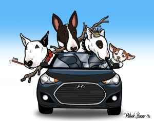 Dogs in car group caricature