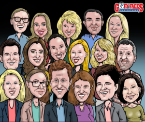 A family reunion group caricature